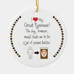 My Great Pyrenees Loves Peanut Butter Double-Sided Ceramic Round Christmas Ornament