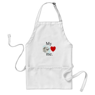 My great pyrenese loves me adult apron