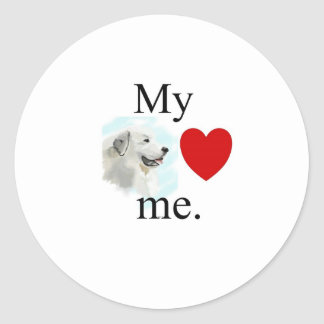 My great pyrenese loves me classic round sticker