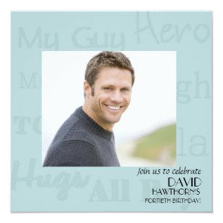 "My Guy - Photo Birthday Party Invitation 5.25"" Square Invitation Card"