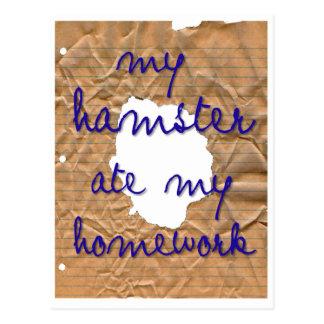 My Hamster Ate My Homework Postcard