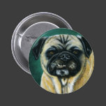 My Happy Face - Pug Dog Art Pinback Button