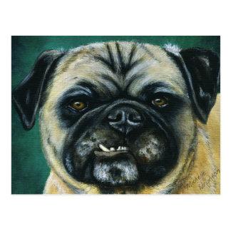 My Happy Face - Pug Dog Art Postcard