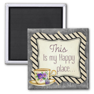 My Happy Place 2 Inch Square Magnet