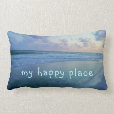 Beach Themed My Happy Place is at Eric's Beach Lumbar Pillow