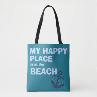 My Happy Place is at the BEACH-Beach Bag-Tote Tote Bag
