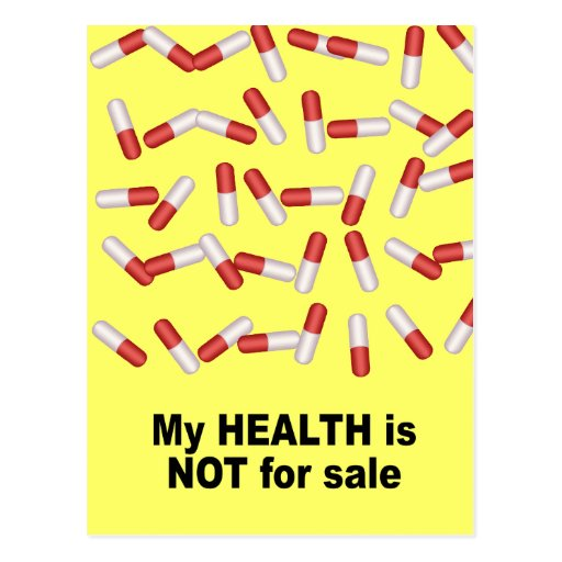 My health is not for sale postcard
