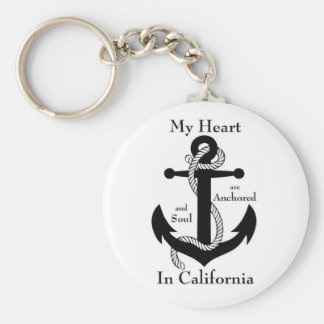 My heart and soul are anchored in California Keychain