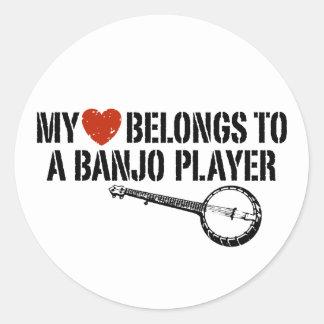 My Heart Banjo Player Classic Round Sticker