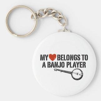 My Heart Banjo Player Basic Round Button Keychain
