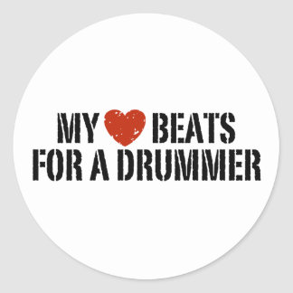 My Heart Beats For a Drummer Classic Round Sticker