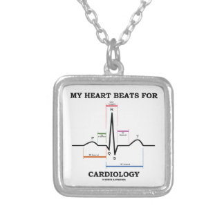 My Heart Beats For Cardiology (ECG / EKG) Square Pendant Necklace
