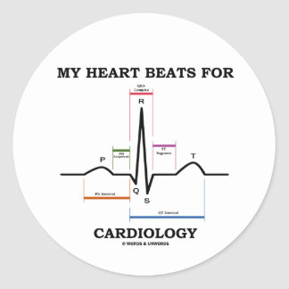 My Heart Beats For Cardiology (Sinus Rhythm) Classic Round Sticker