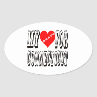 My Heart Beats For CONNECTICUT Oval Sticker