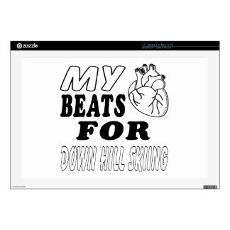 My Heart Beats For Down Hill Skiing. Laptop Decal