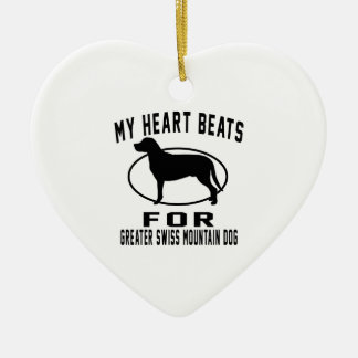 My Heart Beats For Greater Swiss Mountain Dog Double-Sided Heart Ceramic Christmas Ornament
