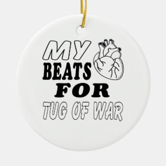 My Heart Beats For Tug of War. Double-Sided Ceramic Round Christmas Ornament