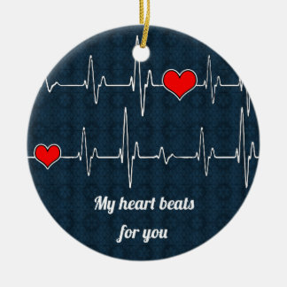 My heart beats for you and ECG Ceramic Ornament