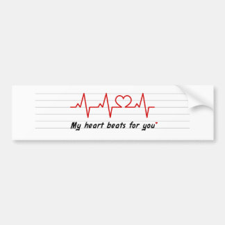 my heart beats for you card and stick bumper sticker