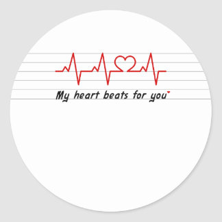 my heart beats for you card and stick classic round sticker