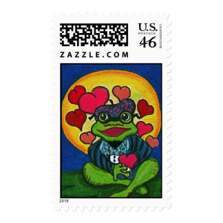 My Heart Beats For You Valentine Frog Postage Stamps