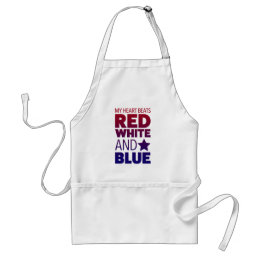 My Heart Beats Red, White and Blue Adult Apron