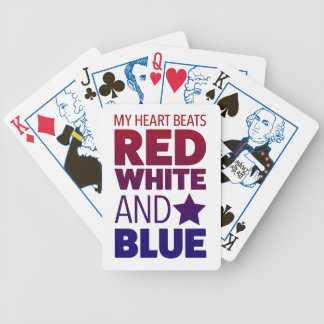 My Heart Beats Red, White and Blue Bicycle Playing Cards