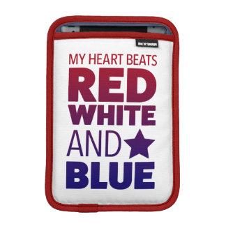 My Heart Beats Red White and Blue iPad Mini Sleeve