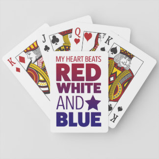 My Heart Beats Red, White and Blue Playing Cards