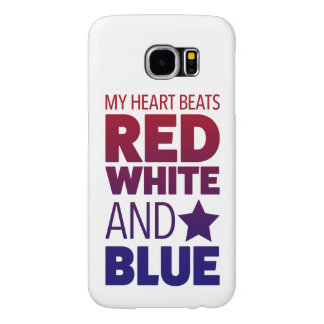 My Heart Beats Red, White and Blue Samsung Galaxy S6 Case