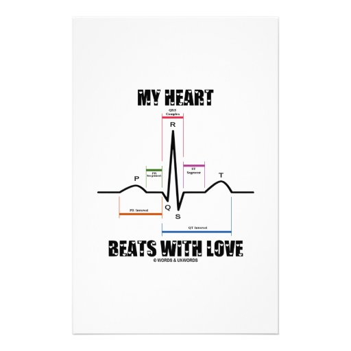 My Heart Beats With Love (Electrocardiogram ECG) Stationery Design