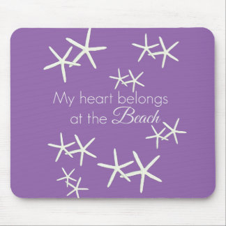 My heart belongs at the beach - purple mouse pad