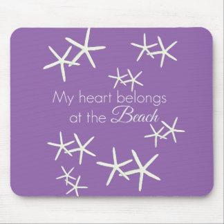 My heart belongs at the beach - purple mouse pad