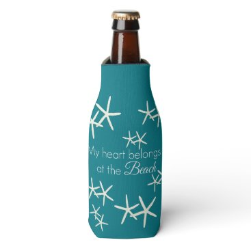 Valentines Themed My heart belongs at the beach - starfish teal bottle cooler