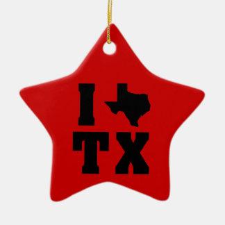 My heart belongs in Texas (sq) 2 Ceramic Ornament