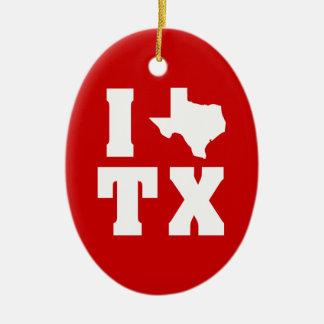 My heart belongs in Texas (sq) Ceramic Ornament