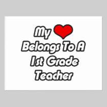 My Heart Belongs To A 1st Grade Teacher Postcard