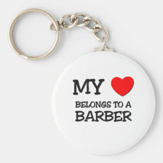 My Heart Belongs To A BARBER Basic Round Button Keychain