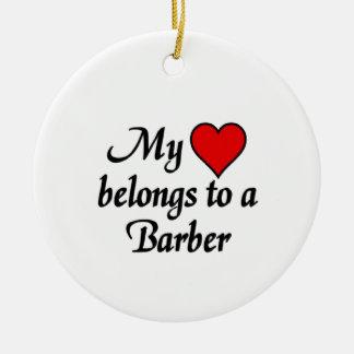 My heart belongs to a Barber Ceramic Ornament