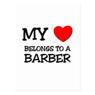 My Heart Belongs To A BARBER Postcard