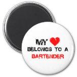My Heart Belongs To A Bartender Fridge Magnet