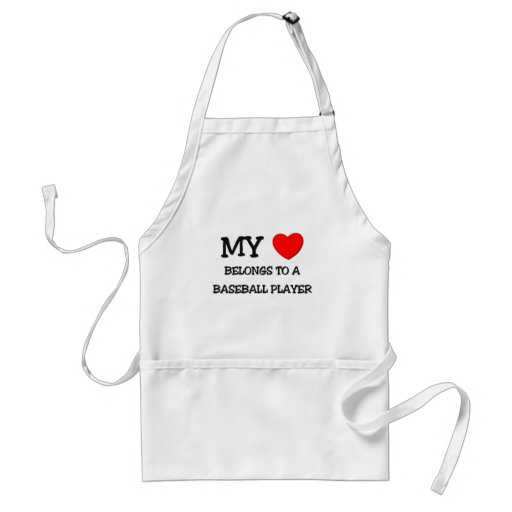 My Heart Belongs To A BASEBALL PLAYER Adult Apron