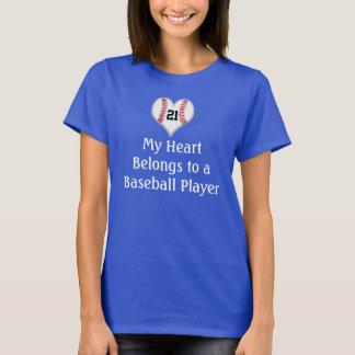 My Heart Belongs to a Baseball Player Shirt NUMBER