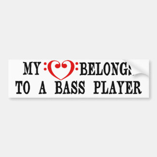 My Heart Belongs To A Bass Player Bumper Sticker