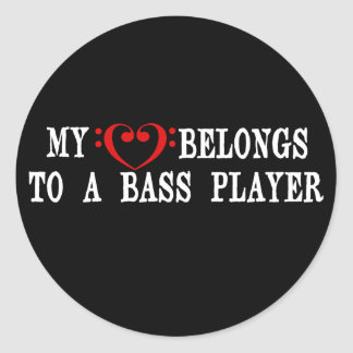 My Heart Belongs To A Bass Player Classic Round Sticker