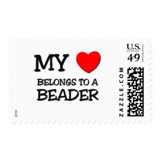 My Heart Belongs To A BEADER Postage Stamp