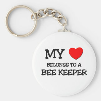 My Heart Belongs To A BEE KEEPER Basic Round Button Keychain