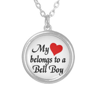 My heart belongs to a bell boy silver plated necklace