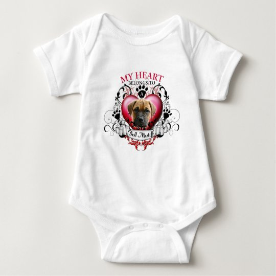 My Heart Belongs to a Bull Mastiff Baby Bodysuit