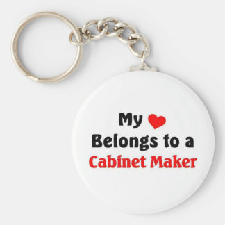 My heart belongs to a Cabinet Maker Basic Round Button Keychain